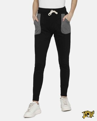 Shop Campus Sutra women's Stylish Black & Grey Joggers-Front