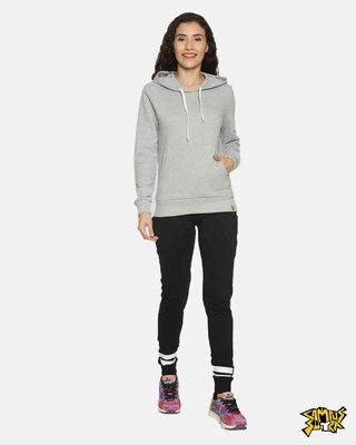 Shop Campus Sutra women's Stylish Black Joggers-Front