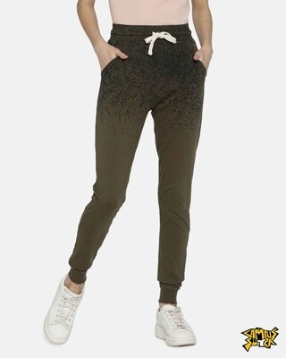 Shop Campus Sutra women's Stylish Sprayed Joggers-Front