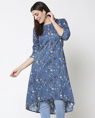 Shop Womens Mid Printed Kurti-Front