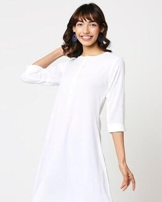 Shop Womens Mid Solid Kurta-Front