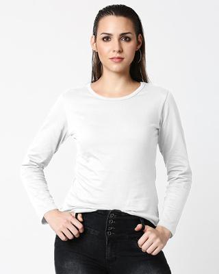 Shop Womens Plain White Full Sleeves T-shirt-Front