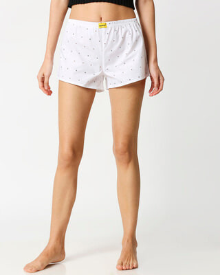 Shop White AOP Women's Boxers-Front