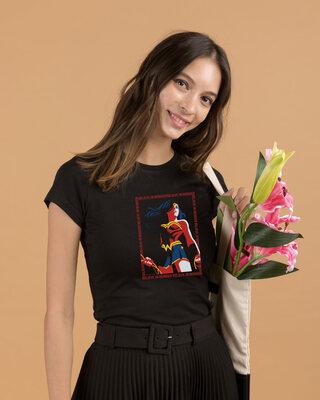 Shop Wonder Woman Frame  Half Sleeve Printed T-Shirt Black (DCL)-Front
