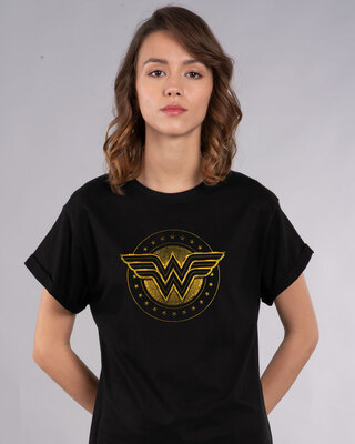 Shop Wonder Woman Gold Plated Logo Boyfriend T-Shirt Black (DCL)-Front