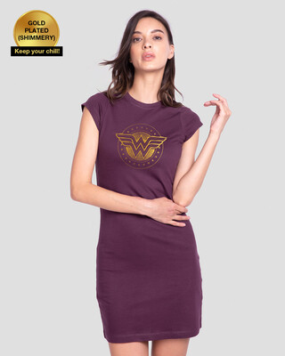Shop Wonder Woman Gold Plated Logo Cap Sleeve T-Shirt Dress (DCL)-Front
