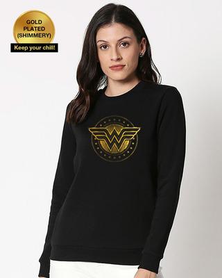 Shop Wonder Woman Gold Plated Logo Fleece Sweatshirt-Front