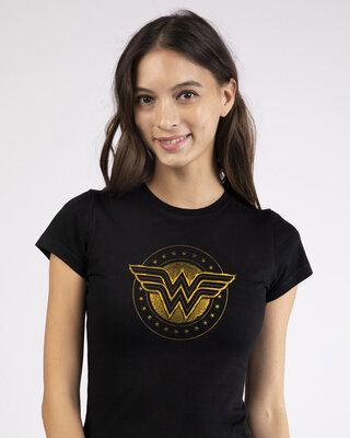 Shop Wonder Woman Gold Plated Logo Half Sleeve T-Shirt (DCL)-Front