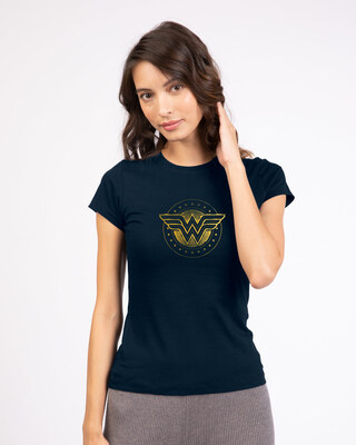 Shop Wonder Woman Gold Plated Logo Half Sleeve T-Shirt (DCL) Navy Blue-Front