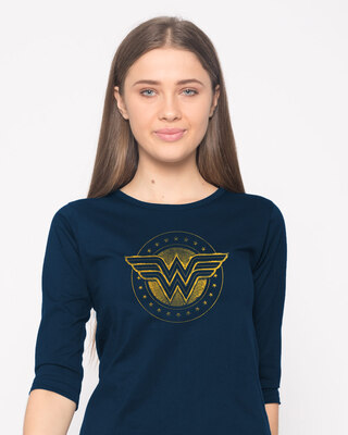 Shop Wonder Woman Gold Plated Logo Round Neck 3/4th Sleeve T-Shirt Navy Blue (DCL)-Front