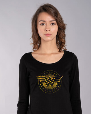 Shop Wonder Woman Gold Plated Logo Scoop Neck Full Sleeve T-Shirt (DCL)-Front