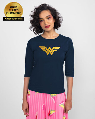 Shop Wonder Woman Gold  Round Neck 3/4 Sleeve T-Shirts Navy Blue (DCL)-Front