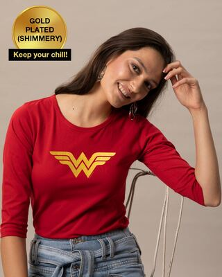 Shop Wonder Woman Gold  Round Neck 3/4 Sleeve T-Shirts Bold Red (DCL)-Front