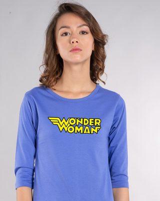 Shop Wonder Woman Main Round Neck 3/4th Sleeve T-Shirt-Front