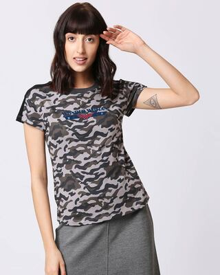 Shop WONDER WOMAN RETRO STRIPE Shoulder Sleeves Panel Half Sleeves Camo T-Shirt Black (DCL)-Front