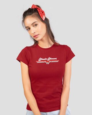 Shop Wonder Women Stripes Half Sleeve T-Shirt (DCL) Bold Red-Front