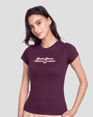 Shop Wonder Women Stripes Half Sleeve T-Shirt (DCL) Deep Purple-Front