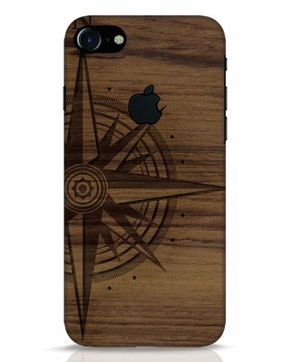 Shop Wood Compass iPhone 7 Logo Cut Mobile Cover-Front