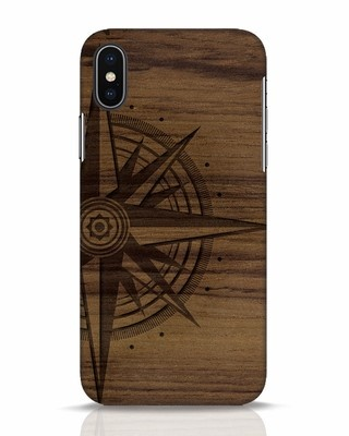 Shop Wood Compass iPhone X Mobile Cover-Front