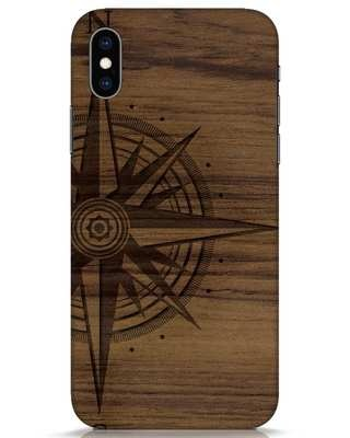 Shop Wood Compass iPhone XS Mobile Cover-Front