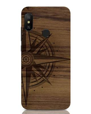 Shop Wood Compass Xiaomi Redmi Note 6 Pro Mobile Cover-Front