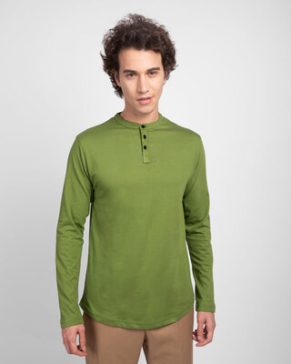 Shop Woodbine Green Full Sleeve Henley T-Shirt-Front