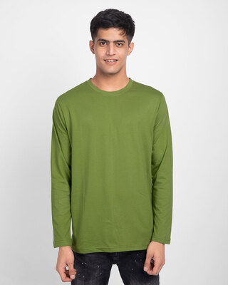 Shop Woodbine Green Plain Full Sleeve T-Shirt-Front