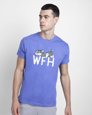 Shop Work From Home Chill Half Sleeve T-Shirt-Blue Haze-Front