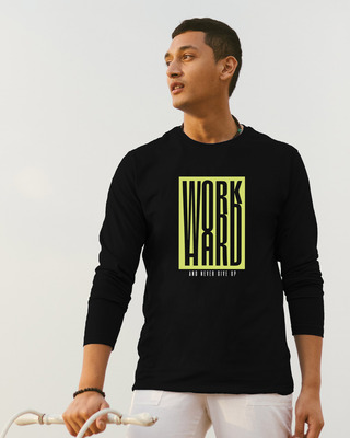 Shop Work Hard Box Full Sleeve T-Shirt-Front