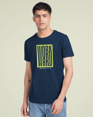 Shop Work Hard Box Half Sleeve T-Shirt-Front