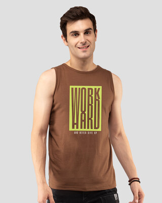 Shop Work Hard Box Vest Brown-Front