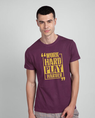 Shop Work Hard Play Hard Half Sleeve T-Shirt-Front