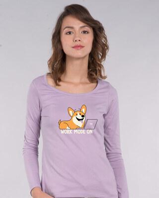 Shop Work Mode On Dog Scoop Neck Full Sleeve T-Shirt-Front