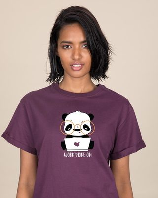 Shop Work Mode On Panda Boyfriend T-Shirt-Front