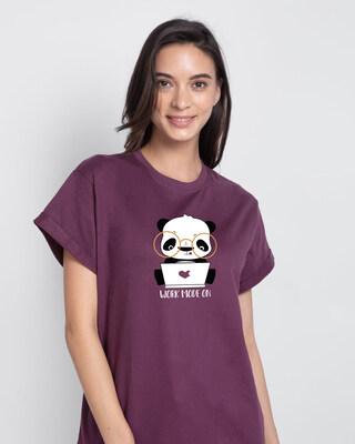 Shop Work Mode On Panda Boyfriend T-Shirt-Front