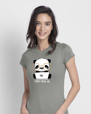 Shop Work Mode On Panda Half Sleeve T-shirt-Front