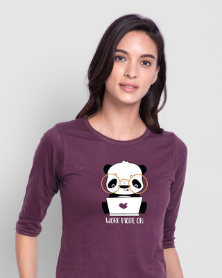 Shop Work Mode On Panda Round Neck 3/4th Sleeve T-Shirt-Front