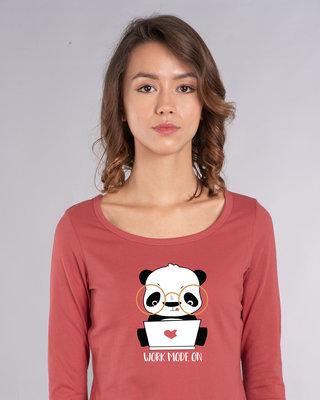 Shop Work Mode On Panda Scoop Neck Full Sleeve T-Shirt-Front