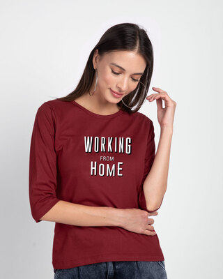 Shop Working From Home Round Neck 3/4 Sleeve T-Shirt Scarlet Red-Front