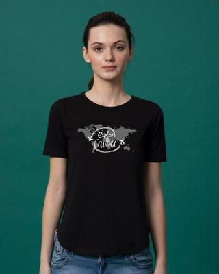 Shop World Map Basic Round Hem T-Shirt-Front