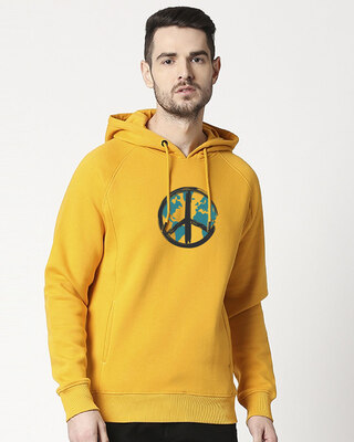 Shop World Peace Stylised Panel Hoodie Sweatshirt-Front
