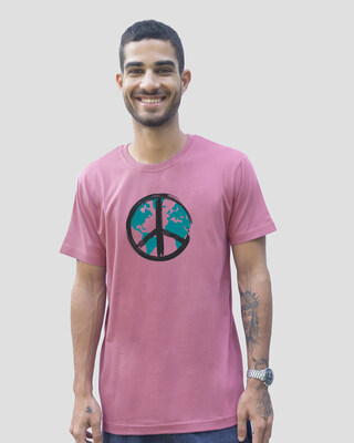 Shop World Peace Half Sleeve T-Shirt - Frosty Pink-Front