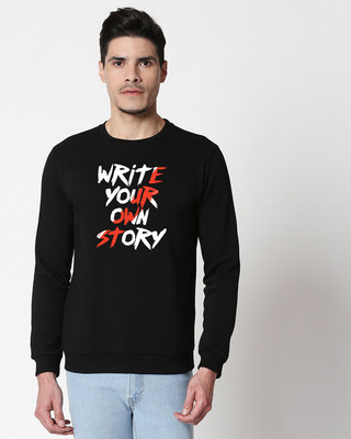 Shop Write Your Own Story Fleece Sweater Black-Front
