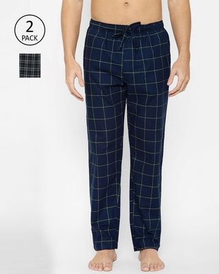 Shop XYXX Super Combed Cotton Checkered Pyjama for Men Pack of 2-Front