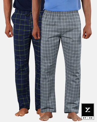 Shop XYXX Super Combed Cotton Checkered Pyjama for Men (Pack of 2)-Front