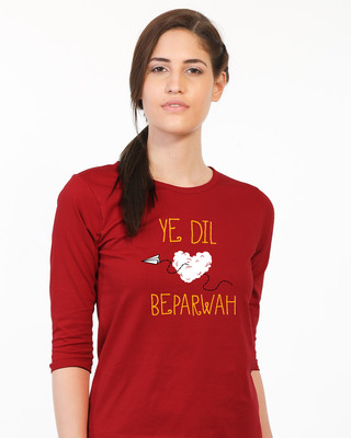 Shop Ye Dil Round Neck 3/4th Sleeve T-Shirt-Front