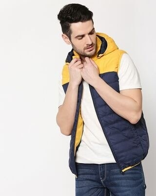 Shop Yellow & Blue Two Block Vest Puffer Jacket with Detachable Hoodie-Front