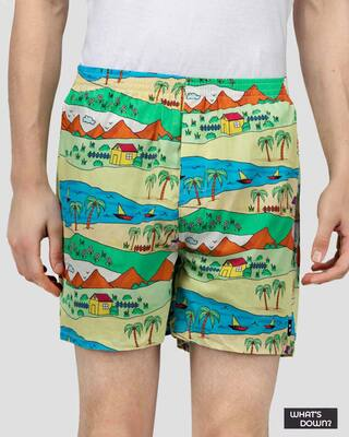 Shop What's Down | Yellow Childhood Scenery Boxer Shorts | Throwback Boxers-Front