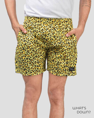 Shop Whatsdown Yellow Leopard Boxers-Front
