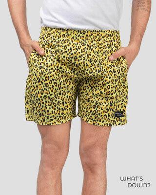 Shop Whatsdown Yellow Leopard Boxers-Front